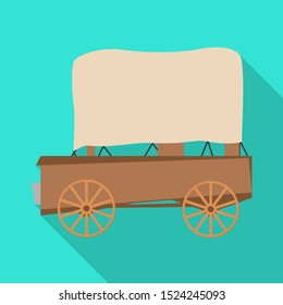 Vector illustration of stagecoach and old logo. Graphic of stagecoach and brougham stock symbol for web.