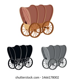 Vector illustration of stagecoach and wagon sign. Set of stagecoach and ride vector icon for stock.