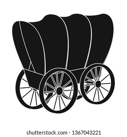 Vector illustration of stagecoach and wagon symbol. Collection of stagecoach and ride vector icon for stock.