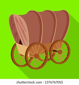 Vector illustration of stagecoach and wagon symbol. Set of stagecoach and ride stock vector illustration.