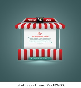 Vector illustration of a stall. Can use for promotion sale. Can use element for poster promotion and advertising.