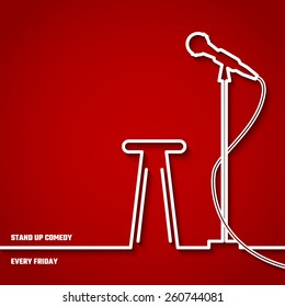 Vector Illustration of Stand up Comedy in Night Club for Design, Website, Background, Banner. Microphone Silhouette Outline Style Element Template. Fun and Jokes