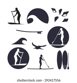 Vector illustration of stand up paddling silhouette icon set in flat design style. Template for your design, article or print