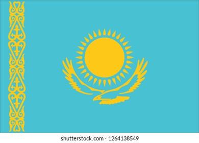 Vector illustration of Standart size Kazakhstan national flag.