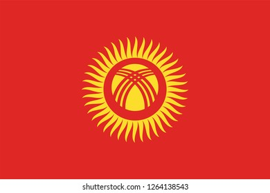 Vector illustration of Standart size Kyrgyzstan national flag.