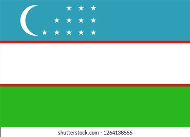 Vector illustration of Standart size Uzbekistan national flag.