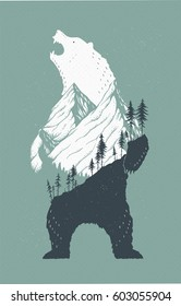 Vector illustration of a standing bear with a mountains landscape in its outlines. Cool trendy growling wild bear image with fir trees, peaky mountains.