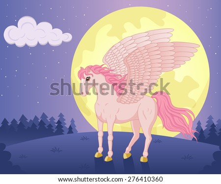 c8951d18d8ac Vector illustration of standing beautiful pegasus or unicorn with big wings  and fluttering mane and tail