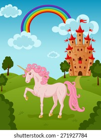 Vector illustration of standing beautiful pink unicorn with raised leg on the fairytale summer nature landscape with majestic rainbow, castle, meadow, trees, bush, clouds.