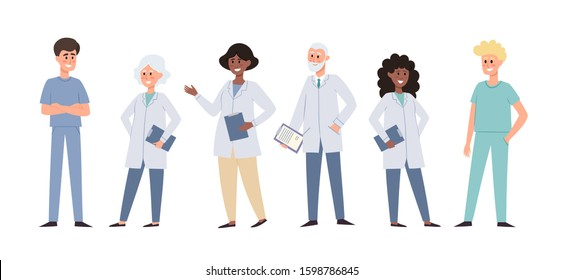 Vector illustration of standing european, african doctors and nurses isolated on white. Medical team concept used for donor day poster, hospital website, magazine.