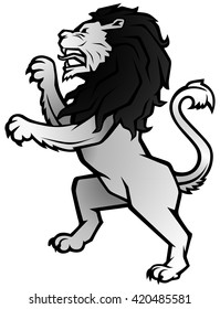 Vector Illustration of a standing Lion in side view - The Lion Rampant