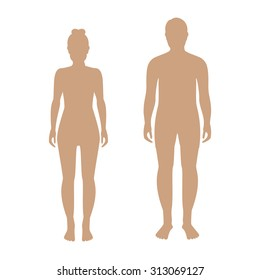 Vector illustration of standing silhouettes of man and woman in beige color. Human man and woman icons. Male and female silhouette