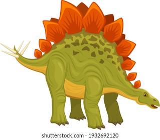 Vector illustration of a standing stegosaurus dinosaur against a white background.