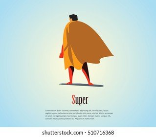 Vector illustration of standing superhero, business power icon, red costume with orange cape, Super Hero cartoon man character