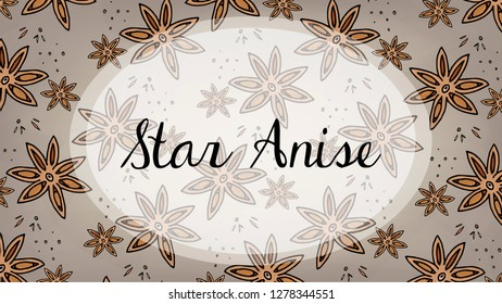 Vector Illustration of Star Anise Pattern Sketch Style