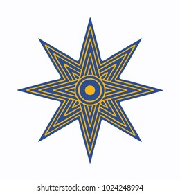 Vector illustration: The Star of Ishtar, Symbol of Inanna, also called Star of Venus. Eight point star or variant of Ishtar Octagram.