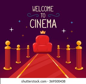 Vector illustration of star red carpet and cinema armchair with text on purple background. Art design for web, site, advertising, banner, poster, flyer, brochure, board, paper print.