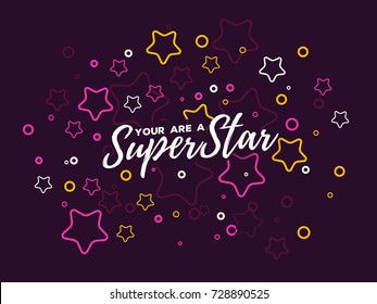 Vector illustration with star and text. Superstar concept on dark background. Thin line art design with star for web, site, banner, cover, print, card