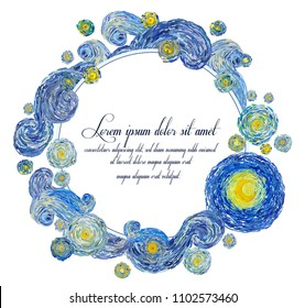 Vector illustration of starry night sky with glowing yellow moon and with blank central space in the style of Van Gogh impressionist paintings suitable for anniversary greeting cards.