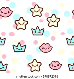 Vector illustration of the stars, lips and crowns with the funny faces seamless pattern. Trendy Kawaii emoticons for print on t-shirt, one piece body gift for kids.