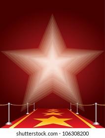 vector illustration of stars on red carpet