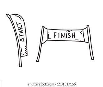 Vector illustration of start and finish banners. Sport flag start and finish, banner checkered for competition race.