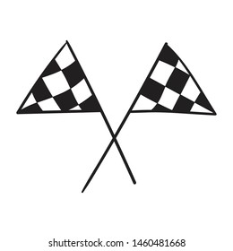 Vector illustration of start and finish line banners, streamers, arch gate, flags for outdoor sport event - competition race, run marathon. Isolated doodle cartoon illustration.