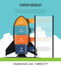 Vector illustration of startup checklist infographic design element.