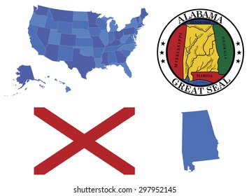 Vector Illustration of state Alabama, contains: High detailed map of USA High detailed flag of state Alabama High detailed great seal of state Alabama Alabama state, shape