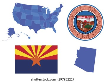 Vector Illustration of state Arizona, contains: High detailed mapof USA High detailed flag of state Arizona High detailed great seal of state Arizona Arizona state, shape