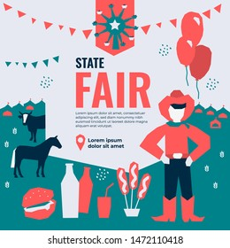 Vector illustration for State Fair with food and drink, amusement park, market, ferris wheel, farmer, farm animals, country fair. Template for banner, poster, flyer, invitation, advertisement, ticket.