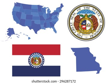 Vector Illustration of state Missouri contains: High detailed map of USA High detailed flag of state Missouri High detailed great seal of state Missouri State Missouri, shape