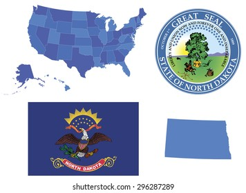 Vector Illustration of state North Dakota, contains: High detailed map of USA High detailed flag of state North Dakota High detailed great seal of North Dakota State North Dakota, shape
