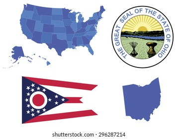 Vector Illustration of state Ohio, contains: High detailed map of USA High detailed flag of state Ohio High detailed great seal of state Ohio State Ohio, shape