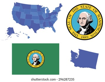 Vector Illustration of state Washington,contains: High detailed map of USA High detailed flag of state Washington High detailed great seal of state Washington State of Washington,shape
