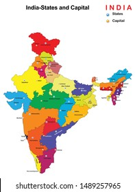 vector illustration of states and capital map of India