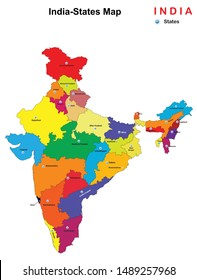 Vector illustration of States map of India
