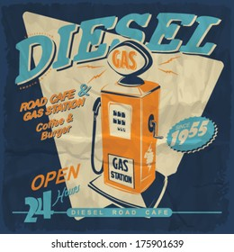 Vector illustration.gas station and cafe sign.