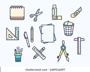 Vector illustration of a stationery and school supplies elements. Contains such as pencil, scheduler, scissors, glue and more. Flat illustration style line drawing and background color blue.