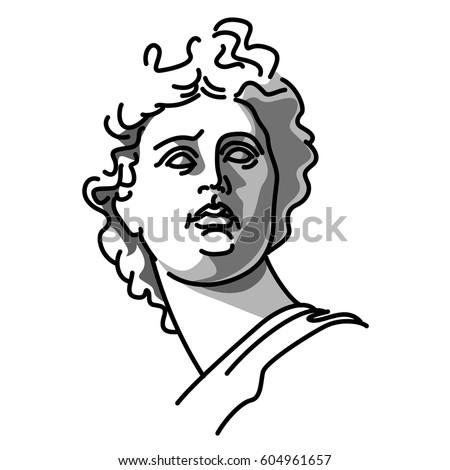 Vector Illustration Of Statue Greek God Apollo