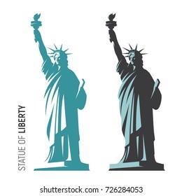Vector illustration of the Statue of Liberty in New York City. Symbol, emblem, label, logo design.