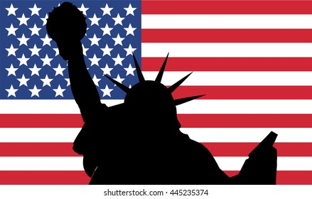Vector illustration of Statue of Liberty silhouette with USA flag