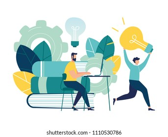 Vector illustration, stealing and plagiarism, copying ideas, thoughts, a man running away with a light bulb in his hands