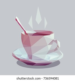 Vector illustration of steaming tea cup isolated on light background. Low poly style.