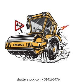 Vector illustration of steamroller with smoke under the wheels on white background