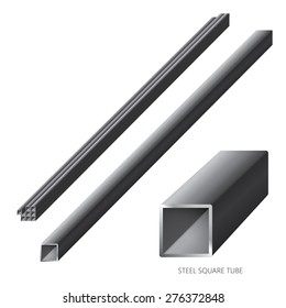 Vector illustration of steel construction isolated (Steel Square Tube) on white background.