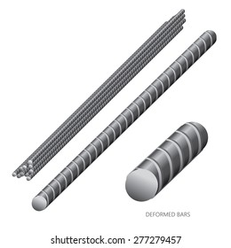 Vector illustration of steel construction isolated (Deformed Bars) on white background.