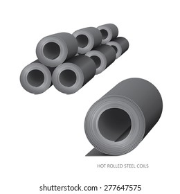 Vector illustration of steel construction isolated (Hot Rolled Steel Coils) on white background.