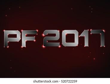 Vector illustration of steel metallic PF 2017 over red night sky