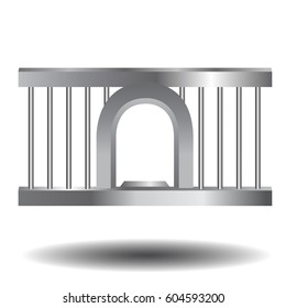 Vector illustration of steel prison window for dialog with bars . Realistic style.